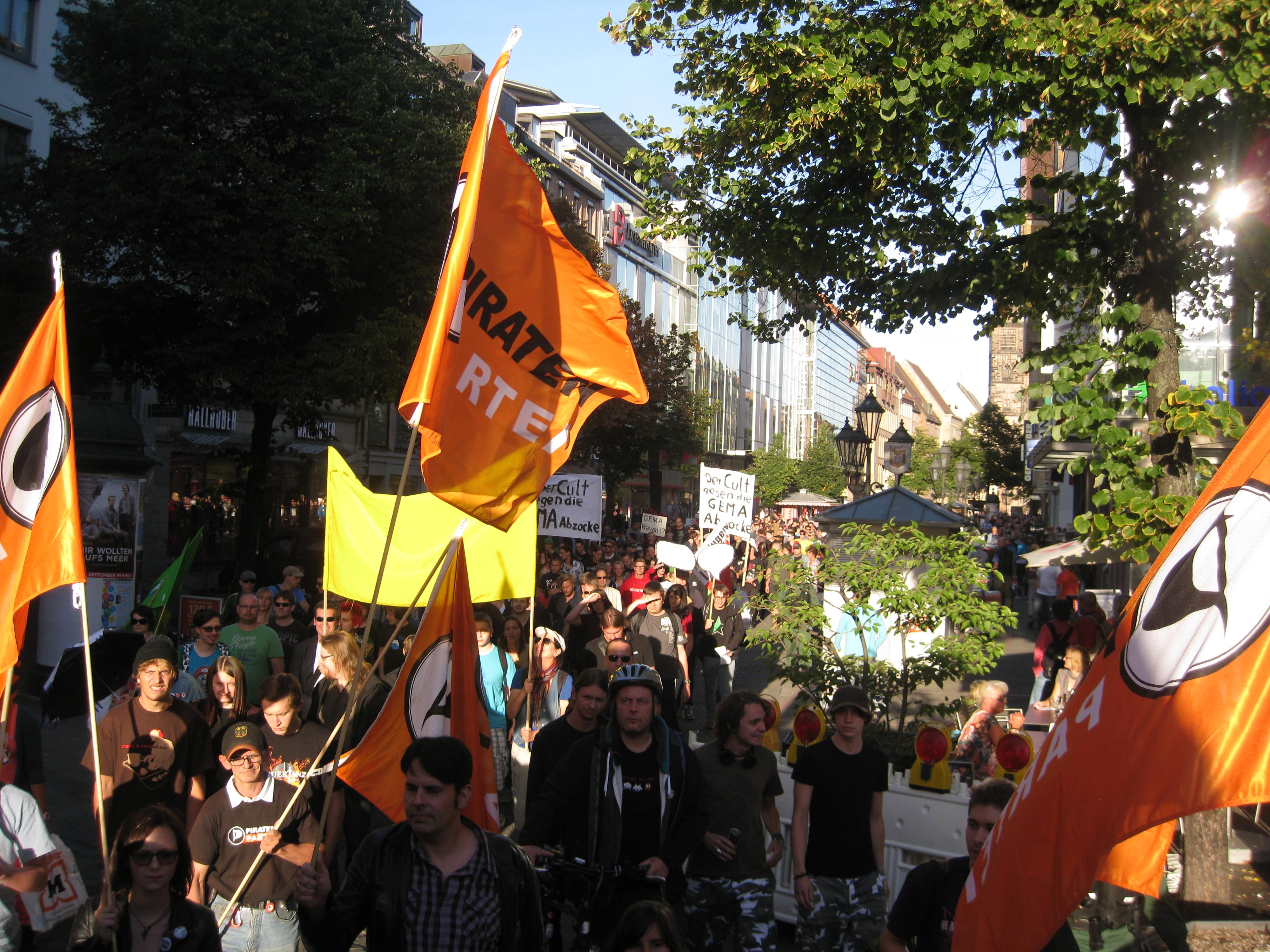 Demo gegen die GEMA-Tarifreform in Nürnberg